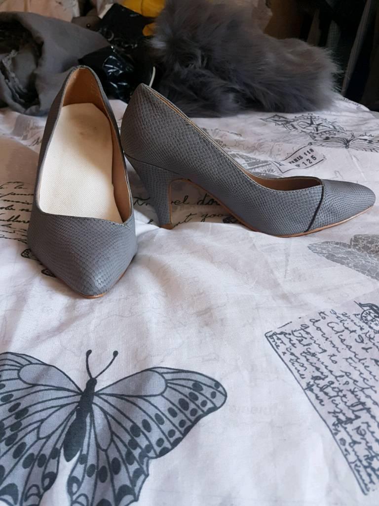 Grey shoes worn once. Size 5. 3inch heel. £10. Hucknall