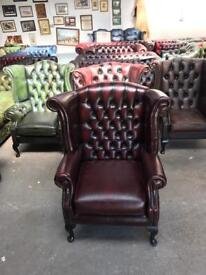 Stunning Thomas Lloyd oxblood leather chesterfield Queen Anne wingback chair UK delivery