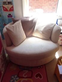 Cuddle chair and pouffe