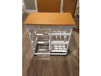 White Wooden Kitchen Trolley Island Storage Cart w/ Bamboo Top, Drawers, Wine rack, Wire Baskets