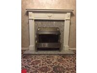 Fire place Marbel back + base Only and Electric Heater. No Wood around