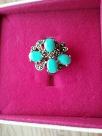 Vintage silver, turquoise and marcasite ring