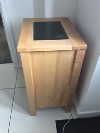 Solid Beech & Polished Granite Lamp table/Cabinet
