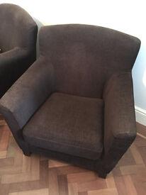 Brown Fabric Sofa Chairs, IKEA Arm Chairs (x2)