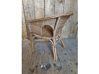 Vintage wicker & bamboo armchair decorative bedroom conservatory rattan