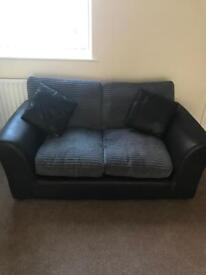 Leather 2x2 seater settee with cushions inc