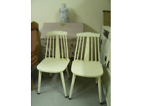 VINTAGE RETRO PAIR OF ERCOL DINING CHAIRS SHABBY CHIC PAINTED WHITE MID CENTURY