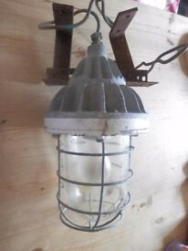 Vintage Industrial Light Fitting. Heavy Duty Metal & Glass Dome. £50.00 or very near offer