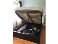 Double Ottoman Storage Bed. Brown Faux Leather. Mattress included