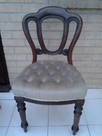 Victorian ballonon back chair. Bedroom
