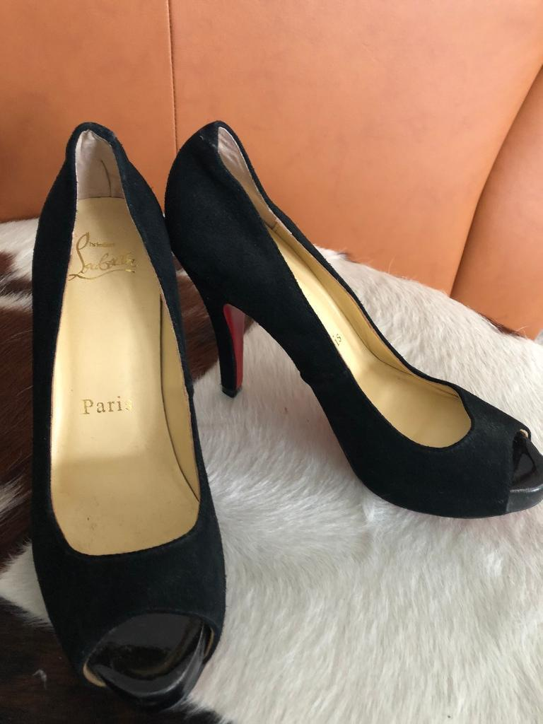 Heel To Toe Poole >> Christian Laboutin Designer New Size 6 Black Suede Peep Toe High