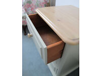 A beautifully upcycled chests of solid pine with 3 drawers, hand painted in Farrow&Ball