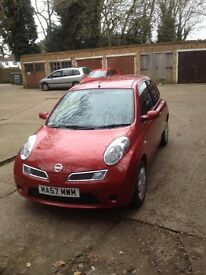 57 Reg 2007 Nissan Micra 1.2 Red ,HPI CLEAR , FOR SALE