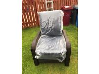 garden reclining chair with navy blue cushions