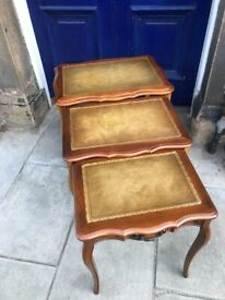 Nest of 3 tables , in good condition . Size - top table -W 61cm D 45cm H 59cm