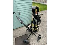 Full set of clubs, bag and trolly