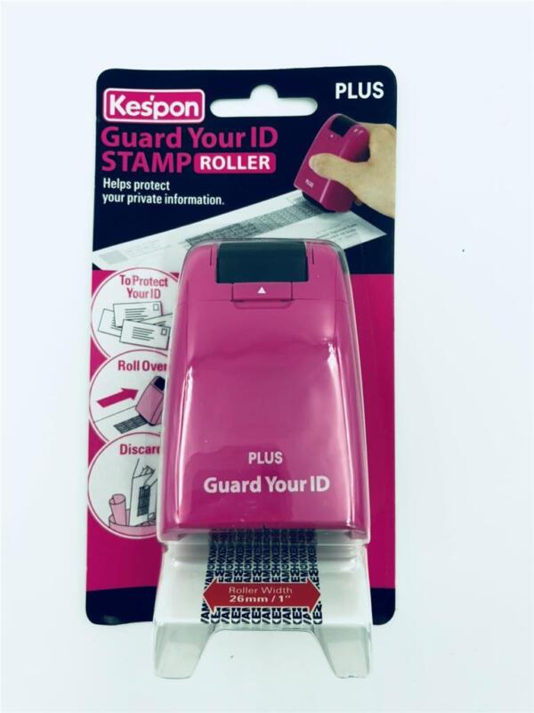 NEW Kespon Plus Guard Your ID Roller Stamp Advanced Pink Case Black Ink