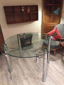 Round Glass Dining Table (extendable)