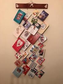 Handmade wooden Christmas card or stocking holders