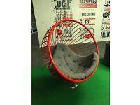 Designer Red Metal Garden Swing Egg Chair Modern Contemporary Cocoon