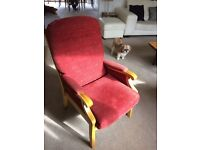 Arm chairs- matching pair with wooden arms