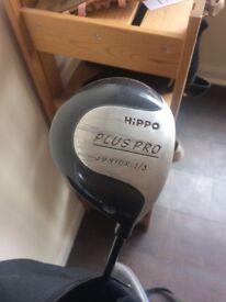 Hippo golf bag & a few clubs
