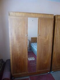 Wooden Double Door Wardrobe with Centre Mirror