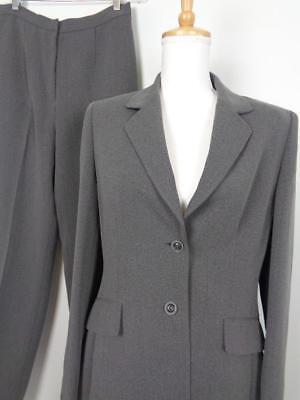 Tahari ASL Gray Pant Suit Womens sz 10 Blazer 29x32 Lined Long Jacket