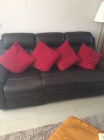 Brown leather 3 seater sofa with recline for ends
