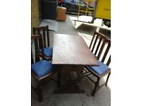 1950's Priory Oak Refectory Table with 4 Chairs