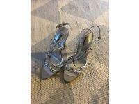 Women's silver Dune sandals size 4, never been worn