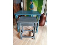Solid oak pair nest of tables