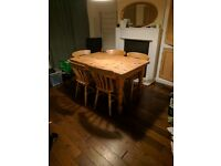 Solid pine 'farm house' table & 5 chairs