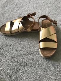 Girls next sandals size 2. Gold