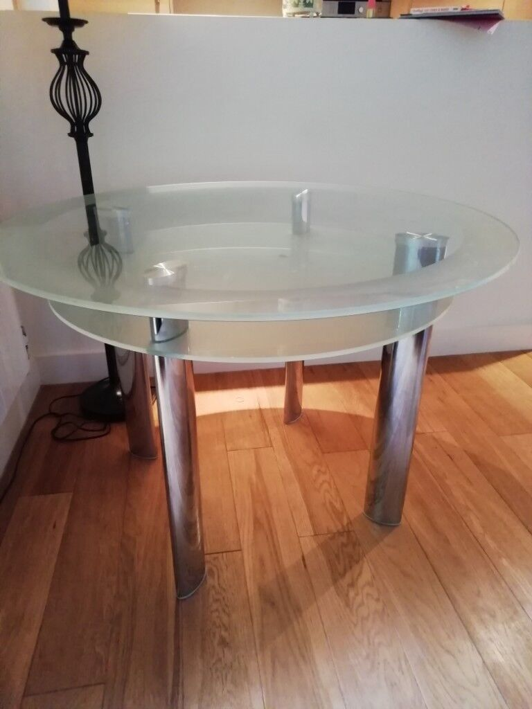 Round glass kitchen dining room table 4 person in cambridge