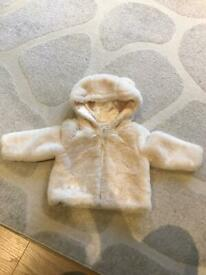 Baby's cream fluffy coat with hood from Monsoon age 6-12 mths