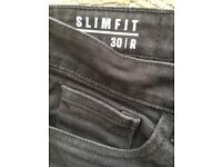 2 prs Men's/Boy's Black Jeans Slimfit 30R
