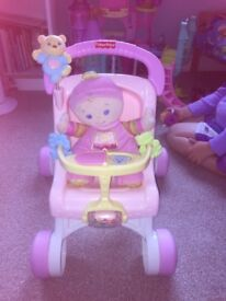 Learn to walk pram and doll toy