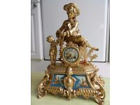 Beautiful LARGER THAN MOST ornate French gilt & marble mantle clock circa 1880-1890.