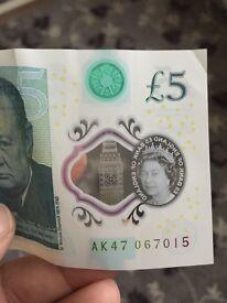 AK47 Rare £5 Five Pound Note Polymer Genuine