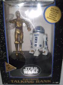 Star Wars Electronic Talking & light up money box 1995 - R2D2 & C3PO - Sealed