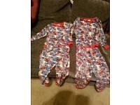 3 pairs of Spiderman marvel pyjamas aged 4 to 5