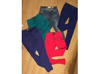 5 pairs different colours size 8 jeans