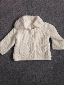 Fleece lined baby cardigan, 3-6 months