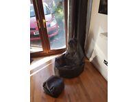 As new xl bean bag chair and foot stool x2 black