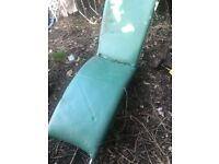 Green leather chaise