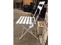 Brand new 2 white bistro chairs & square table