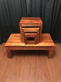 Sheesham wooden coffee table and nest of tables