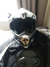 harley davison boots and helmet plus a spine protector