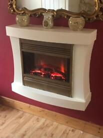 Cream and Gold Wall Mounted Electric Fire